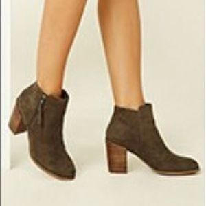 Olive Faux Suede Booties from F21